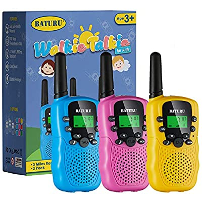 Kids Walkie Talkies, Walkie Talkies for Kids 22 Channels 2 Way Radio Toy 3 KM Long Range with Backlit LCD Flashlight, Best Gifts Toys for 3-12 Year Old to Outside Adventures, Camping, Hiking(3 Pack) by SANJOIN