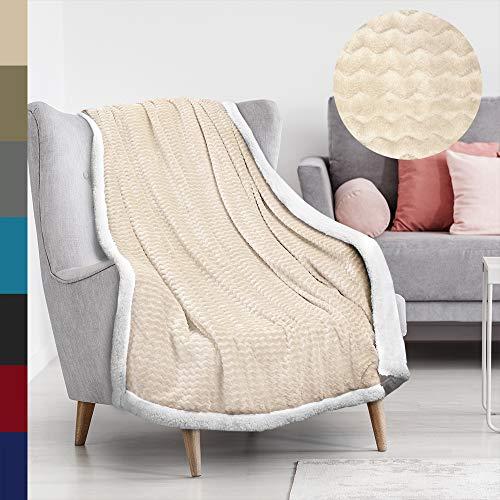 Tirrinia Soft Sherpa Chevron Throw Blanket for Sofa or Couch Latte Reversible Fuzzy Micro Plush All Season Fleece TV Blanket 50' x 60'