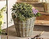 Dekoleidenschaft Pflanzkorb Rustikal groß, aus Rattan, rund, grau, Blumentopf, Pflanzkübel
