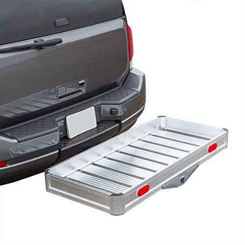 Discount Ramps Apex Hitch Cargo Carrier Tray Aluminum 550 lb. Capacity – Tray 49-1/8' L x 22-5/8' W x 4-3/4' H – Unique Slatted Surface Compatible with Class III or IV 2' Receivers