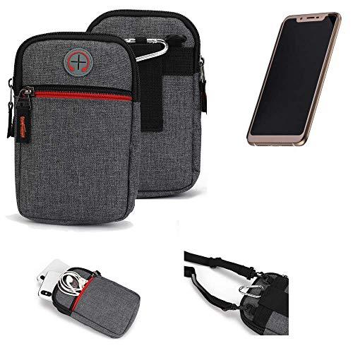 K-S-Trade® Gürtel-Tasche Für Doogee V Handy-Tasche Holster Schutz-hülle Grau Zusatzfächer 1x