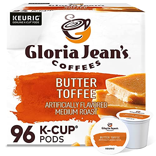 Gloria Jean's Coffees Butter Toffee, Single-Serve Keurig K-Cup Pods, Flavored Medium Roast Coffee, 96 Count