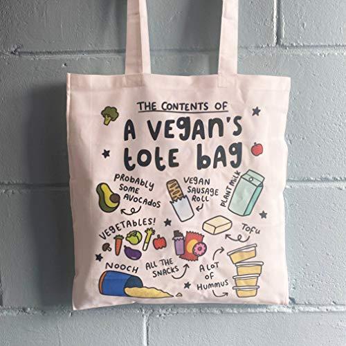 Contenido de un bolso Vegans Tote Bag divertido regalo de cumpleaños vegano aguacate hummus Nooch para mejor amigo, bolsa vegana a base de plantas TT001