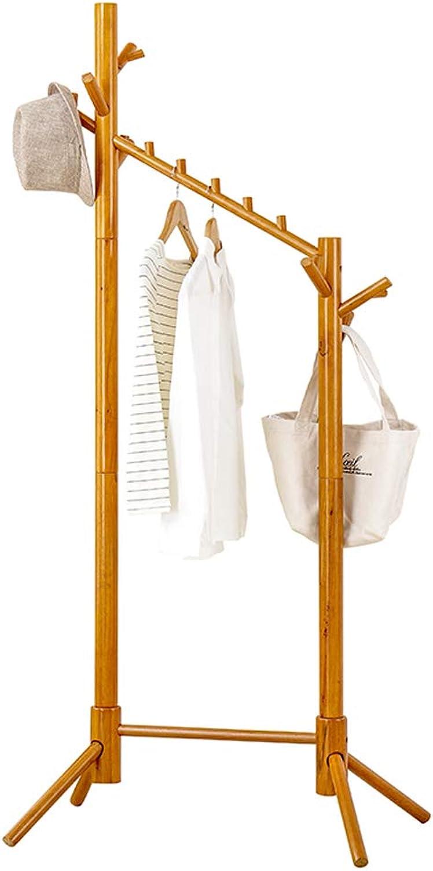 JQWGYYMJ Coat Rack, 175×50cm-Solid Wood Coat Rack Floor Simple Bedroom Multi-Function Hanger Rubber Wood Hanging Clothes Rack Wood color