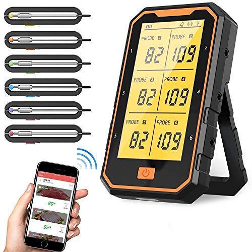 Thermomètre à viande sans fil pour griller, thermomètre à viande numérique avec 6 sondes et alarme pour barbecue, four, cuisine, compatible iOS et Android