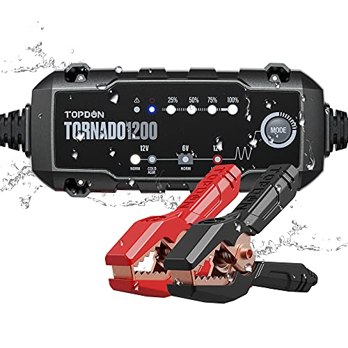 Car Battery Charger Trickle Charger Automotive, TOPDON TORNADO1200 6V 12V 1.2 Amp Fully Automatic Smart Battery Charger & Maintainer Desulfator with Temperature Compensation