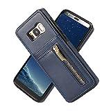 KANSI compatibile per Samsung S8 Cover, Protezione Schermo + Samsung S8 Case in Pelle Artificiale di Alta Qualità - Blu