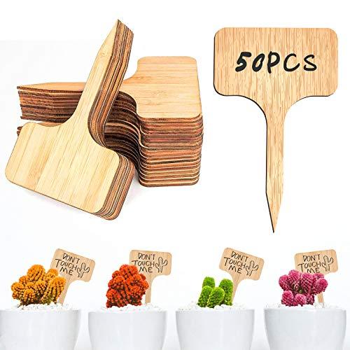 Gxhong 50 Pcs Etiqueta de Planta T-Tipo Madera, Etiquetas Ecológicas de Madera Bambú, Usado para Plantas de Jardín Marcadores, Invernaderos, Semillas, Vegetales, Hierbas (6x10CM)