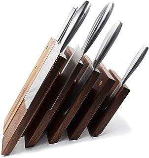 ZJZ Bloc magnétique Ensemble de Couteaux en Bois Massif/Support de Couteau Support de Couteau magnétique Bloc Organisateur...