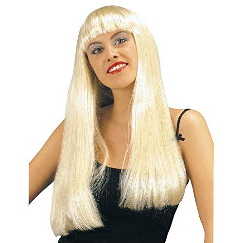 NET TOYS Fashion Girl Perruque Blonde Femme Long Blond avec Frange Perruque pour Dame Carnaval