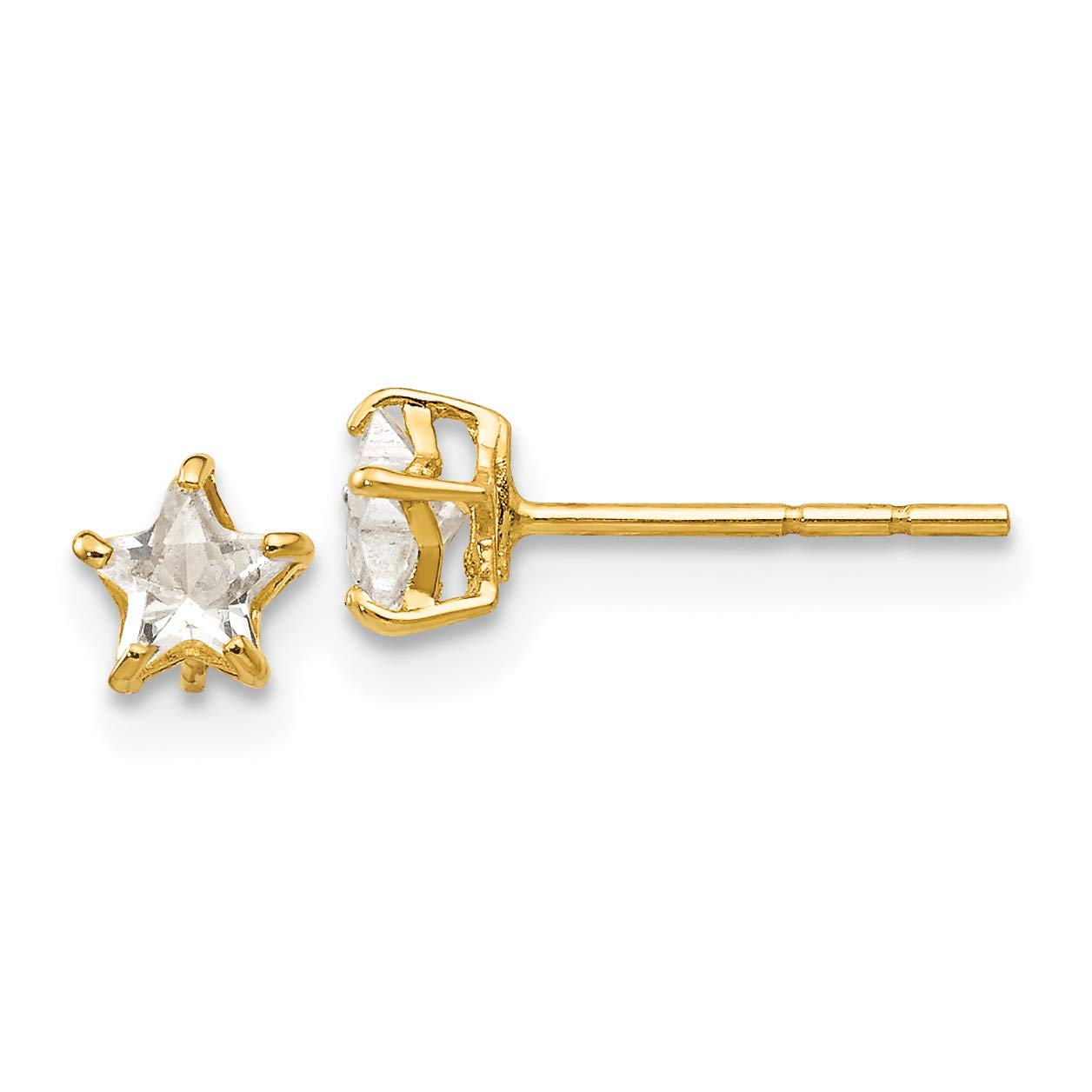Mia Diamonds 14k Yellow Gold Madi K Polished Pink CZ Heart Screwback Post Earrings