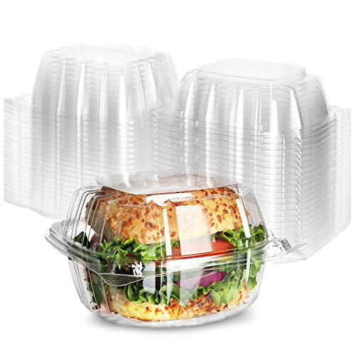 Clear Hinged Plastic Containers [100 Pack] 6 x 6 Clamshell Food Containers, Sandwich containers, Togo containers for Food, Plastic Cake Containers