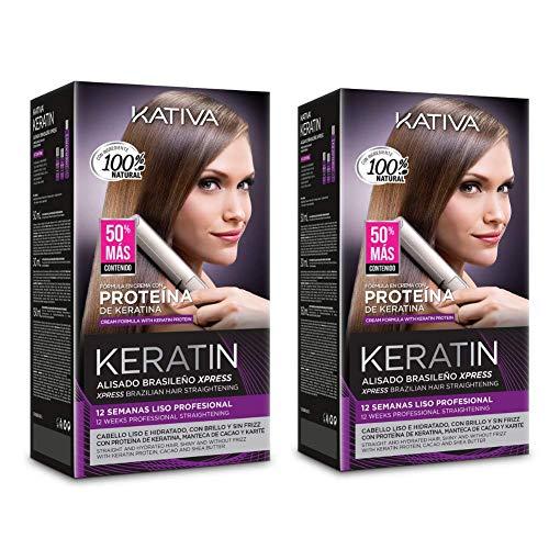 Pack Super Ahorro De 2 Kativa Keratin Alisado Brasileño Xpress Tratamiento de Queratina sin Formol