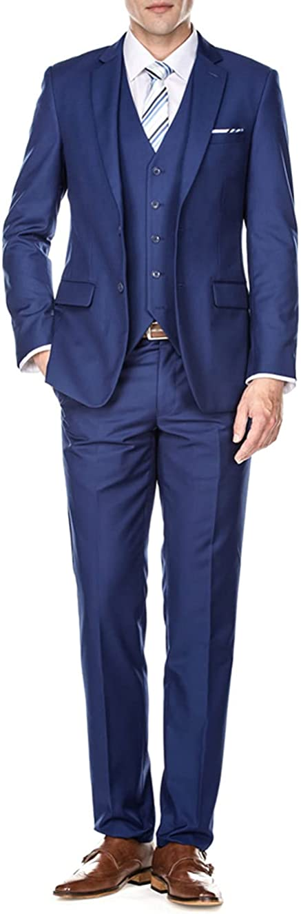 Braveman Signature 3-Piece Suits for Men Classic Fit - Made with Premium Wool-Feel Fabric