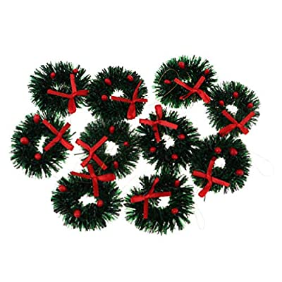 D DOLITY Miniature Christmas Wreaths Creative Xmas Art Supplies For 1/12 Dollhouse Christmas Crafts and Decorations 10 Pieces