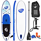 Goplus 10/11ft Inflatable Stand Up Paddle Board, 6 inch Thick Non-Slip Deck, with Free Premium SUP Accessories, Backpack, Adjustable Paddle, Dual-Action Pump, for Beginner and Professional