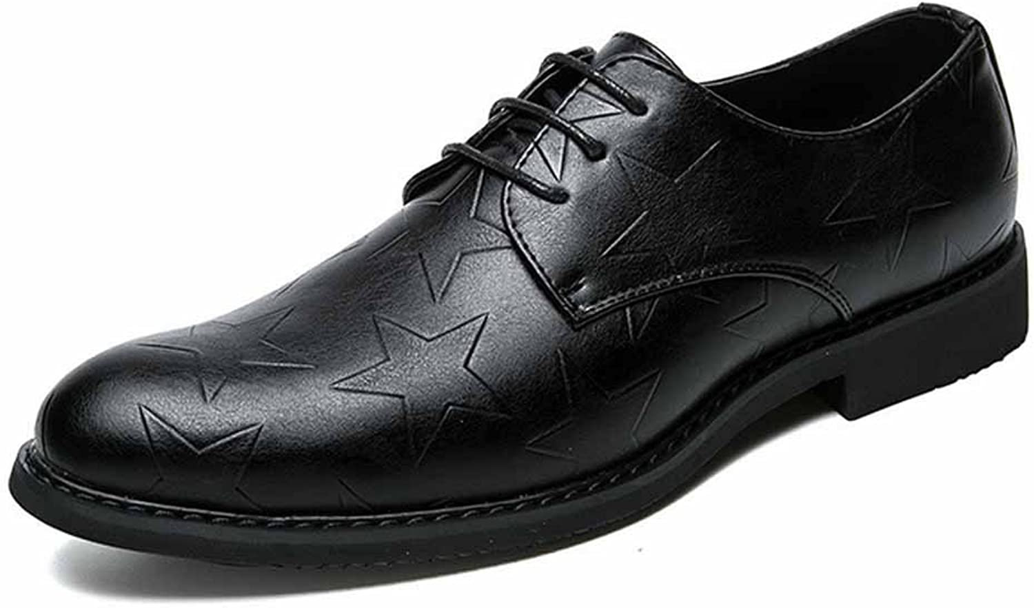 GLSHI Men Casual Derby Business Dress shoes New Four Seasons shoes Simple Leather shoes