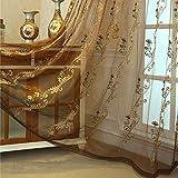 エレガントなコンフォートラグジュアリー刺繍シアーカーテンウィンドウトリートメントドレープシアーボイルカーテンパネルグロメット付きキッチンベッドルームリビングルーム1パネル,ブラウン,52x63inch(WxH)