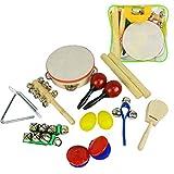 A-Star Juego de percusión de mano de 14 piezas con bolsa de almacenamiento, instrumentos musicales de madera y plástico para niños