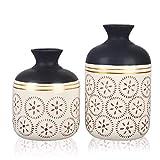 TERESA'S COLLECTIONS Vasi in Ceramica Set di 2 con Effetto Motivo...