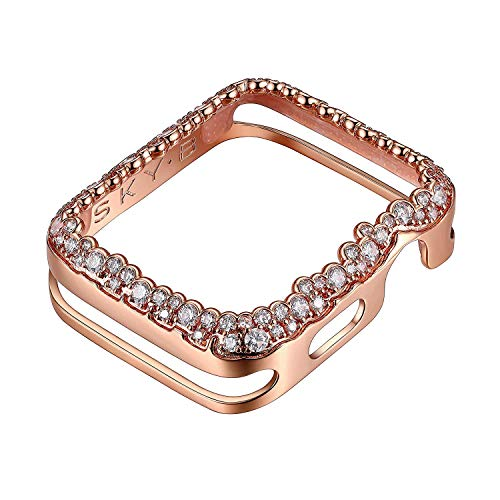 14K Rose Gold Plated Champagne Bubbles Jewelry-Style Apple Watch Case with Zirconia CZ Border -...