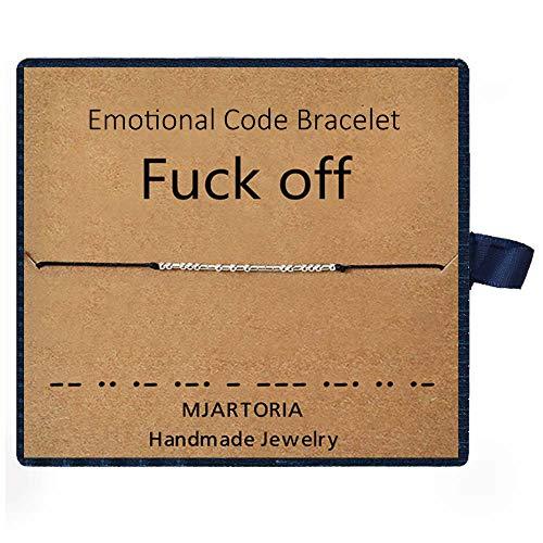 MJARTORIA Fuck Off Morse code bracelet rope bracelet anklet silver color friendship bracelets for women(Black-Fuck Off)