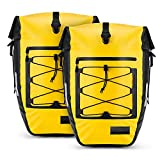 Gonex Upgrade Bicycle Panniers Waterproof Bike Bag Pannier Rear Rack 27L for Cycling Bicycling Traveling Riding Yellow, 2 Packs