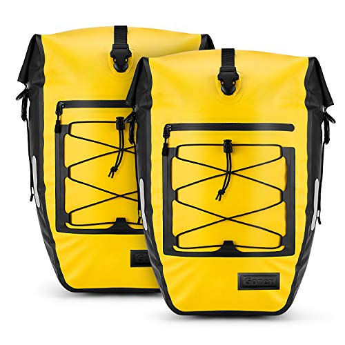 Gonex Bicycle Panniers Waterproof Bike Bag Pannier Rear Rack 27L for Cycling Bicycling Traveling Riding Yellow, 2 Packs