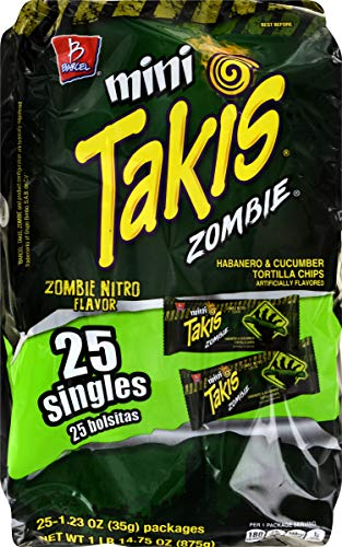 Barcel Mini Takis - Crunchy Rolled Tortilla Chips – Zombie Nitro (Habanero & Cucumber Flavor), 25 Individual Snack Packs (1.2 Ounce )