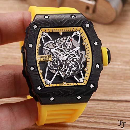Herrenuhr Rubber Sapphire Edelstahl 904l Automatik Mechanik Vollschwarz Tourbillon Skeleton Uhren Gelb
