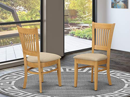 East West Furniture VAC-OAK-C Wonderful padded Parson Chair - Linen Fabric Seat and Oak Hardwood Kitchen dining chair set of 2