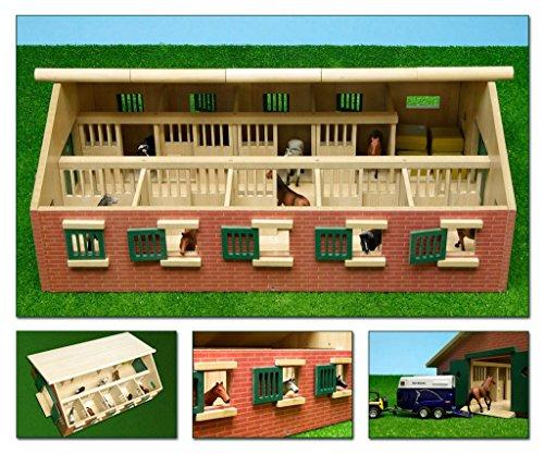 Kids Globe Pferdestall 1:32 Stall aus Holz, ohne Pferde, mit Fenster+Türen 610544