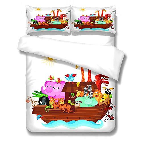GloEnjoy Bedding Set Duvet Quilt Cover With 2x Pillow Cases | 3 Piece Bedding Set | Poly-Cotton | Reversible | Easy Care - 3D Noah's Ark,Single Size 135 x 200cm