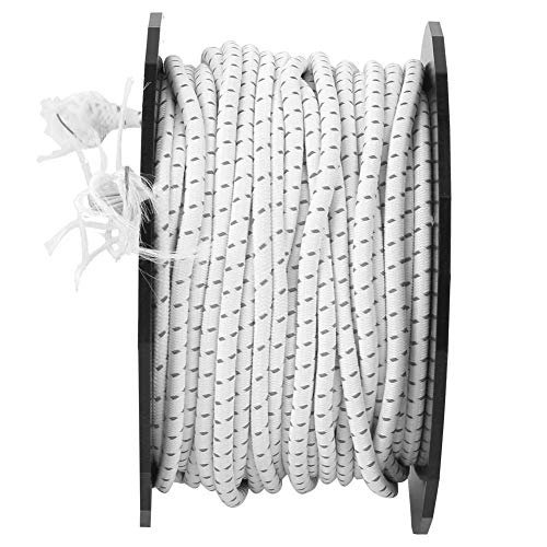 POCREATION Tent Rope, Elastic Rope, Strong for Tent Line Bear Bag(White + Black Point (not Reflective))