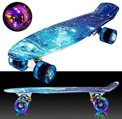 """Oppikle 22"""" 55cm Mini Cruiser Skateboard Retro Komplettboard mit LED LeucCruiser-Board, Geschenk für Erwachsene Jugendliche Kinder Jungen Mädchen"""