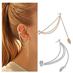☆ Stylish design: Special design with one beautiful chain, connect the stud earrings with the ear cuff on the cartilage, make you eye-catching. ☆ Suitable for gentle woman: These leaf drop earrings are nice for matching lovely dress. ☆ FIT OCCASIONS:...