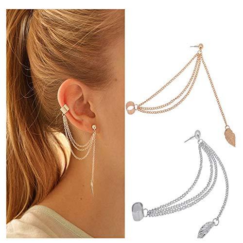EQLEF Cadena Mujeres Chica con Estilo Punk Rock cuelga la Borla de la Hoja del oído deformación del Pun ¢ Pendiente de Plata y los Pendientes de Oro en joyería / 2 Pares