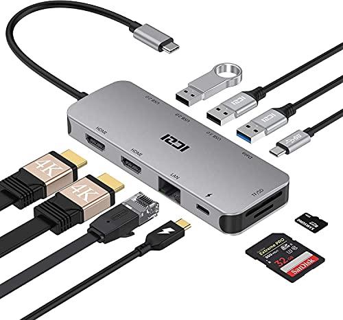 ICZI USB C Hub 10 en 1 Adaptador USB C Dual HDMI 4K@60Hz, 4 USB, RJ45 Ethernet, Lector SD/TF, USB-C Power Delivery Docking Station para Macbook Pro etc(Thunderbolt 3)
