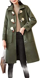 Macondoo Women Overcoat Toggle Winter Thick Woolen Long Jacket Coat