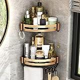 VOLPONE Corner Shower Caddy Shelf with Removable Hooks Towel Holder no Drill Corner Storage Organizer Wall Mounted for Bathroom Kitchen(Black Golden,2 Pack)