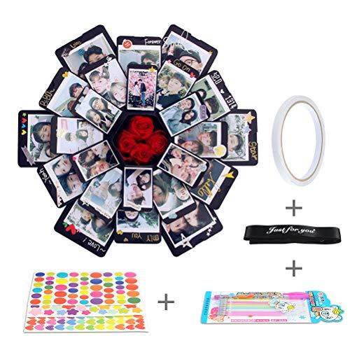 OFNMY Explosionbox Fotoalbum, Kreative DIY Handmade Scrapbooking Überraschung Box für Valentinstag Hochzeit Box Geburtstag (Schwarz, 12 Stück)