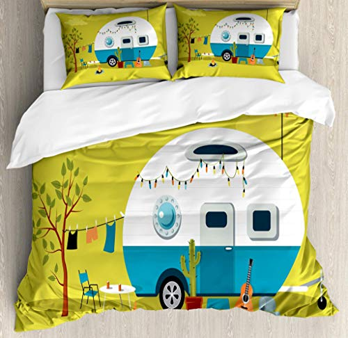 Camping Duvet Cover Set, Parked Trailer with Guitar Cactus Laundry and Fire Pit Road Trip, Decorative 3 Piece Bedding Set with 2 Pillow Shams, Yellow Greenduvet cover