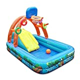 Inflatable Swimming Pool Kids Basketball Playing Pool,Swimming Pool with Basketball Hoop Water Slide for Children