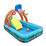 didatecar Wasserspielcenter Kinder Aufstellpool Planschbecken Play Center Babypool Mit Sonnendach Aufblasbarer Pool Kinderbasketball Mit Basketballkorb Wasserrutsche Für Kinder