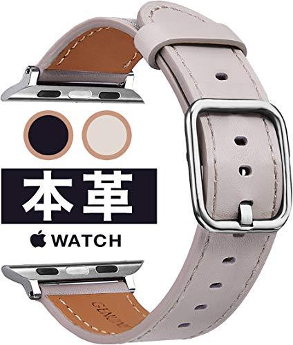 【VANKCY 高品質レザー】Apple Watch バンド 本革 高級 カーフレザー アップルウオッチ 革バンド レザーベルト Apple Watch Series 5/4/3/2/1/ (38mm(Series4/5:40mm), ベージュ アーモンド)