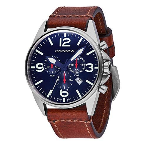 Torgoen T16 Blue Swiss Chronograph Pilot Watch | 44mm - Vintage Leather Strap …