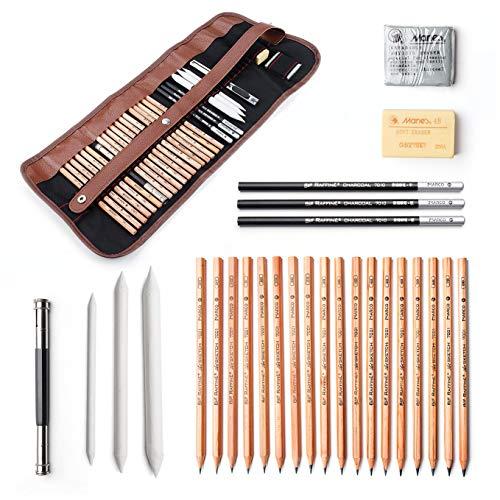 29piezas Profesional Dibujo y lápices de arte Kit de herramientas de dibujo con lápices de grafito, carbón vegetal, papel tinta borrable bolígrafo, cúter con bolsa de Rolling