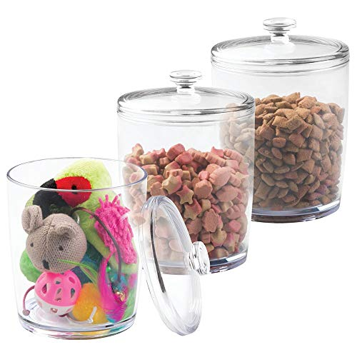 Fantastic Prices! mDesign Tall Plastic Pet Storage Canister Jar with Lid - Holds Cat/Kitten Food, Tr...