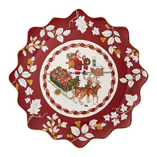 Villeroy & Boch Toys Fantasy Gebäckteller groß, Santa auf Dach, Premium Porzellan, rot, bunt