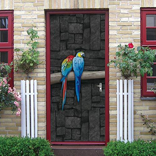 WZKED 3D Pegatinas De Puerta Loro Animal Azul 77X200Cm Vinilo Impermeable Extraíble Murales De Papel Decorativos para El Hogar Baño Sala De Estar Niños Dormitorio Decoración